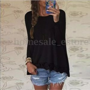 Tops - Long sleeve black top with lace bottom